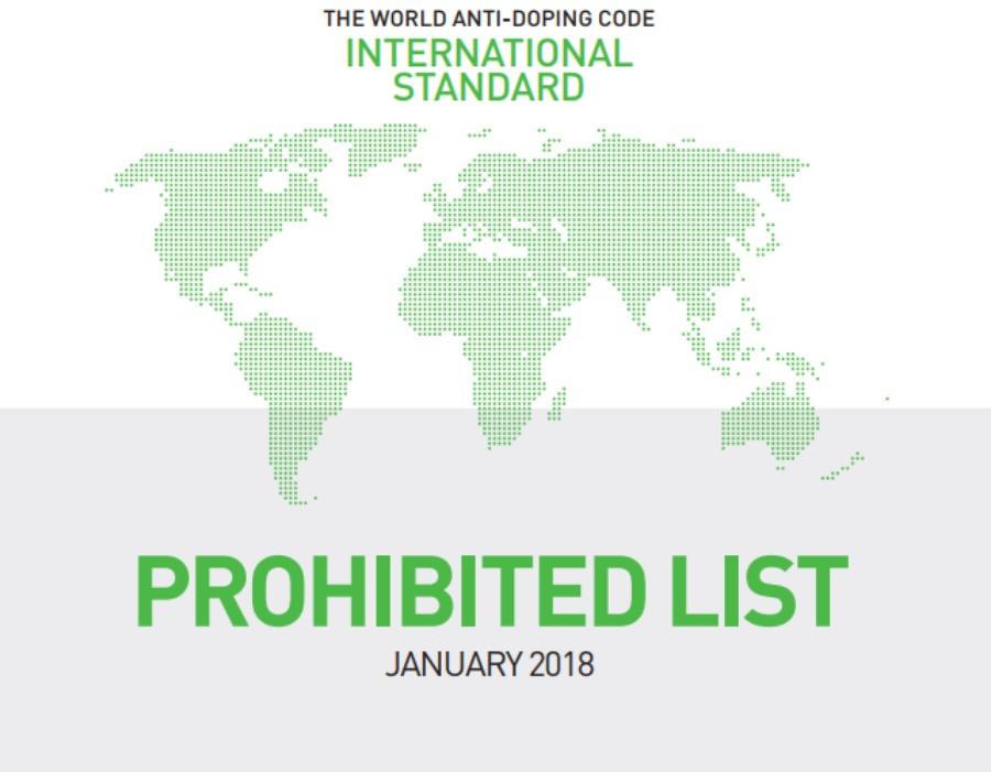 Neue Verbotsliste 2018 tritt in Kraft